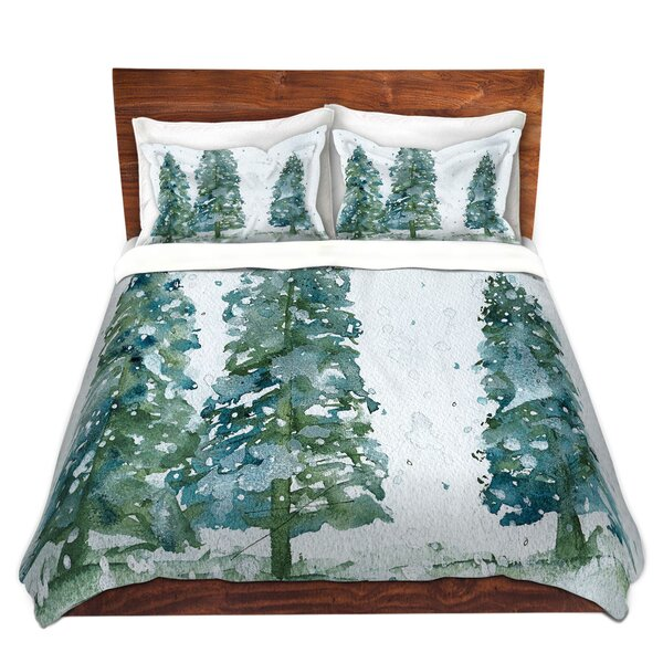 Nyla Dawn Derman Three Snowy Spruce Trees Microfiber Duvet Covers