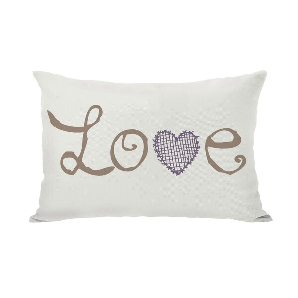 Love Crosshatch Heart Lumbar Pillow by One Bella C