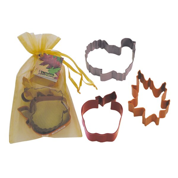 3 Piece Thanksgiving Cookie Cutter Set In Bag by R & M International Corp.