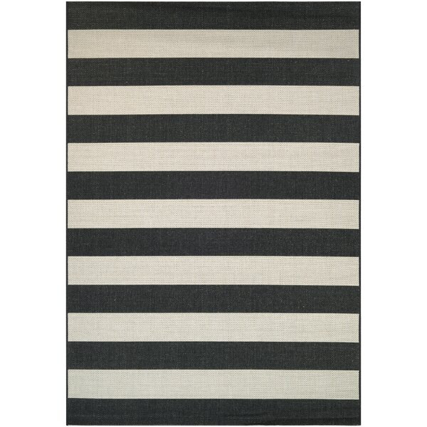 Gallinas Onyx/ Ivory Indoor/Outdoor Area Rug by Beachcrest Home