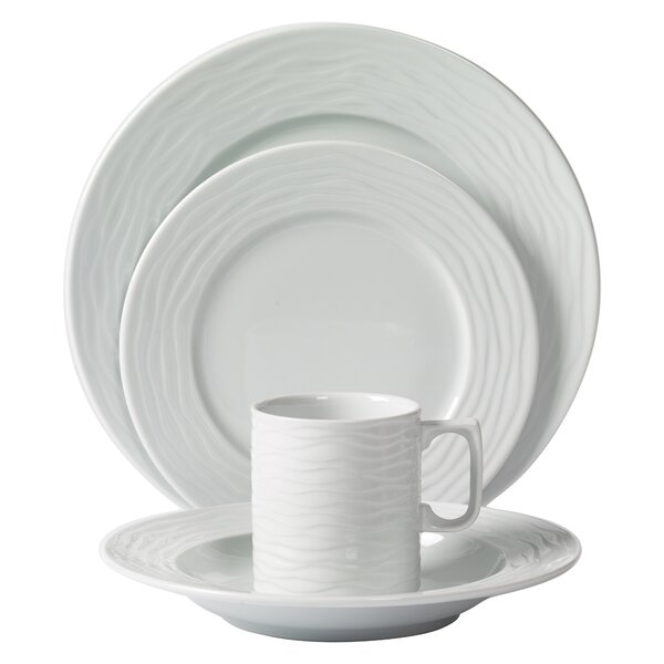 Seawave Embossed Porcelain 16 Piece Dinnerware Set, Service for 4 by Mitterteich