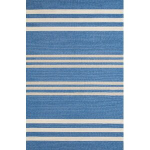 Parallel Hand-Woven Blue/White Indoor/Outdoor Area Rug