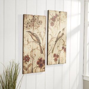 Planked Bird Wall Art (Set of 2) by Birch Lane™