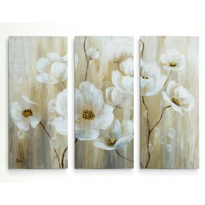 'Shimmering Blossoms' Acrylic Painting Print Multi-Piece Image on Gallery Wrapped Canvas by Alcott Hill