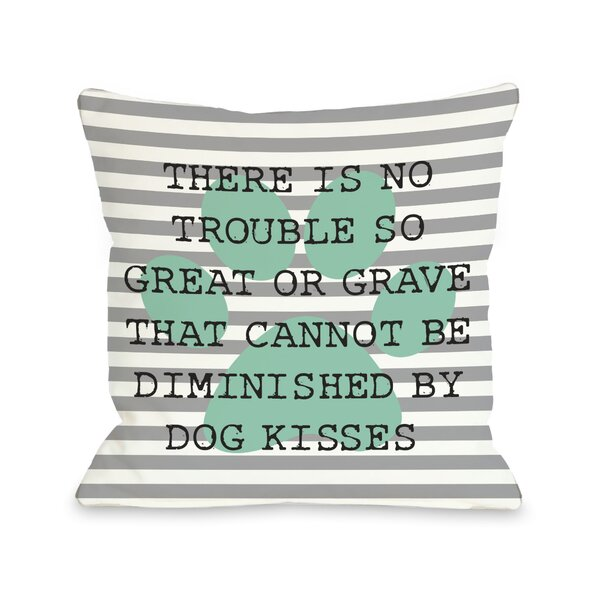 Doggy Décor No Trouble Dog Kisses Stripe Paw Lumbar Pillow by One Bella Casa
