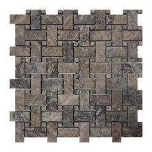 Philadelphia Basketweave 1 x 2 Travertine Mosaic Tile in Dark Gray by Seven Seas