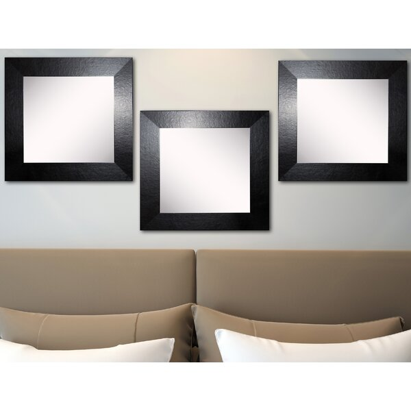 Osibodu Black Wide Leather Wall Mirror (Set of 3) by Orren Ellis