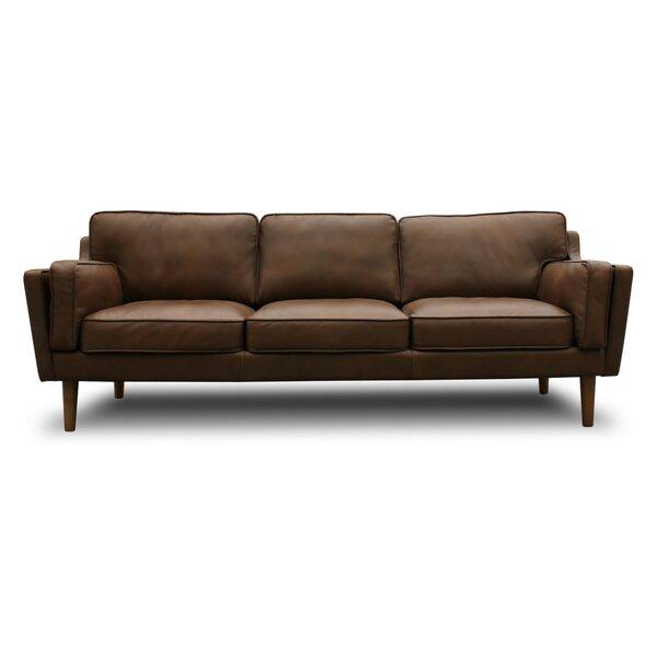 Warren Mid Century Modern Leather Sofa by Modern Rustic Interiors
