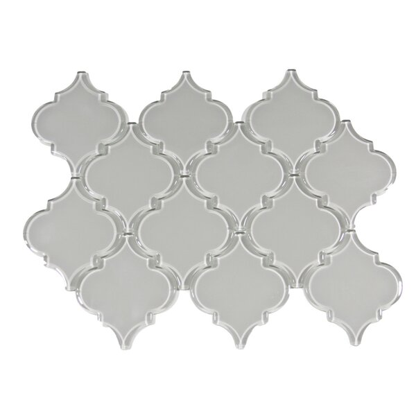 Lithium Arabesque 3 x 3 Glass Mosaic Tile in Smoke by CNK Tile