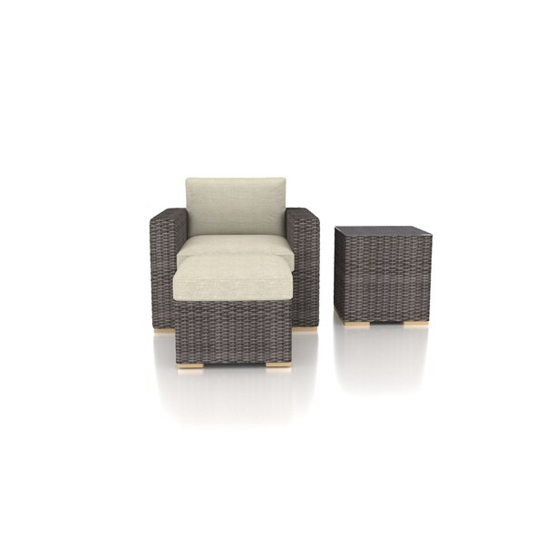 Holcomb 3 Piece Rattan Sofa Seating Group with Sunbrella Cushions by Rosecliff Heights