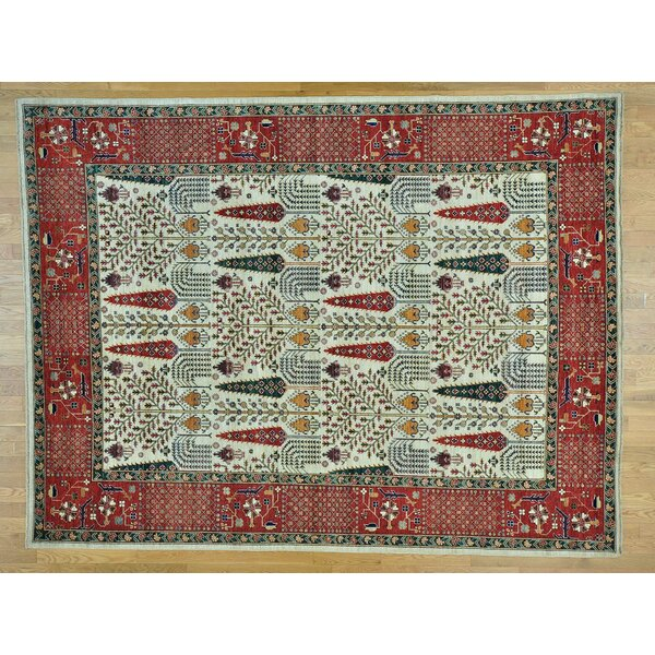 One-of-a-Kind Beaumont Cypress Wilow Tree Design Hand-Knotted Ivory Wool Area Rug by Isabelline