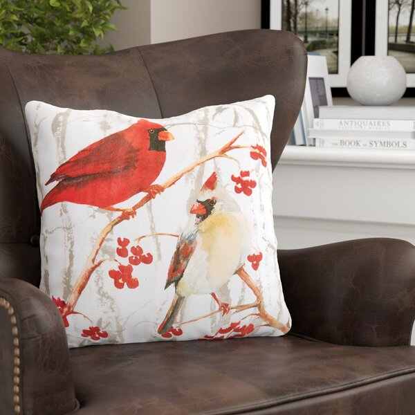 Letourneau Cardinal Pair Throw Pillow by Red Barrel Studio