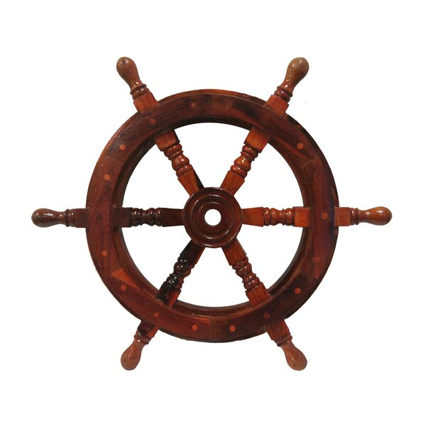 Bosworth Nautical Ship Wheel Sculpture with Wooden Centre by Breakwater Bay