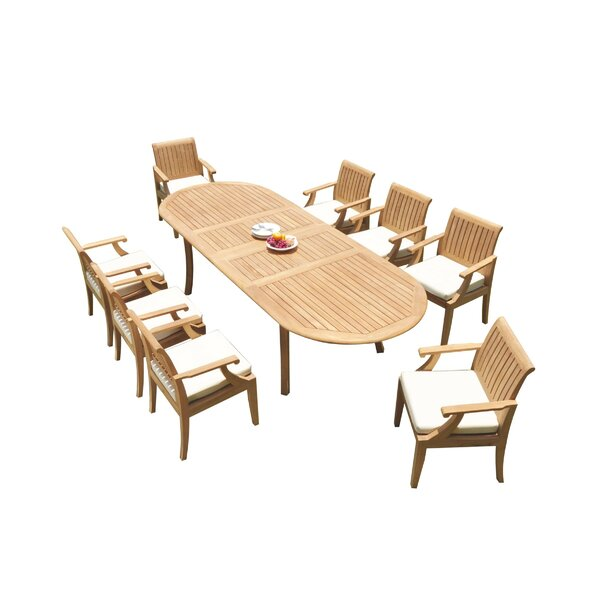 Eveloe 9 Piece Teak Dining Set by Rosecliff Heights