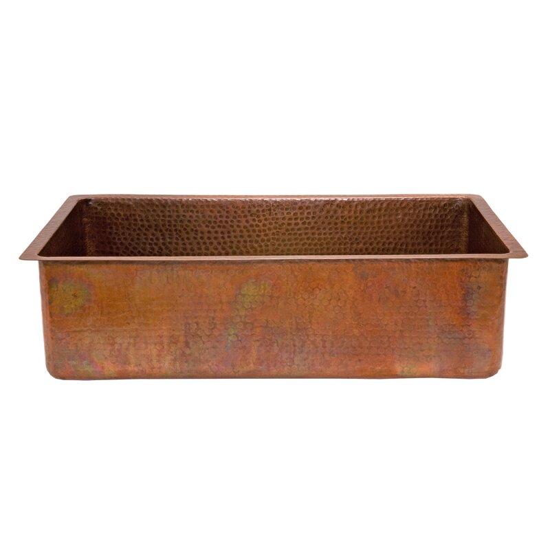 "Kitchen Sink 19 X 33: Premier Copper Products 33"" X 19"" Antique Hammered Single"
