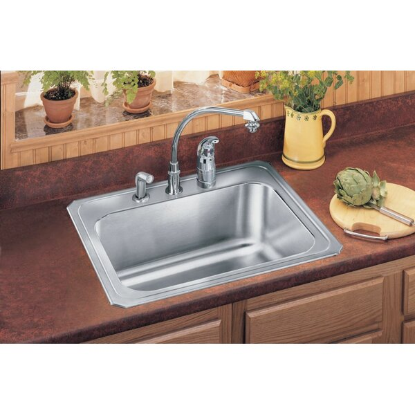 Gourmet 25 L x 22 W x 10.25 Top Mount Kitchen Sink by Elkay
