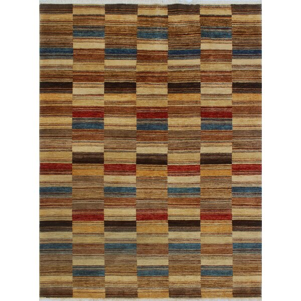 Howery Hand-Knotted Wool Brown Area Rug by Red Barrel Studio