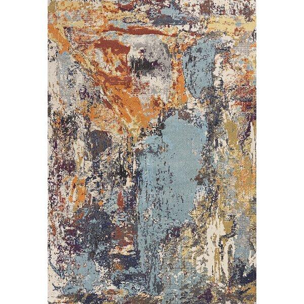 Forbis Blue/Orange Area Rug by Wrought Studio
