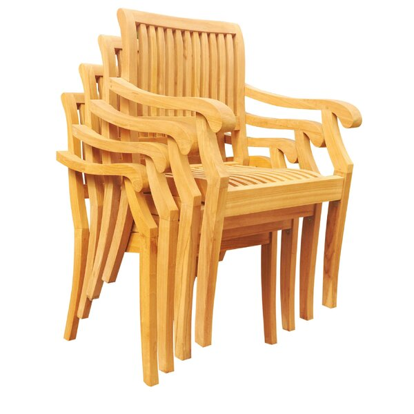 Masten Stacking Teak Patio Dining Chair (Set of 6) by Rosecliff Heights