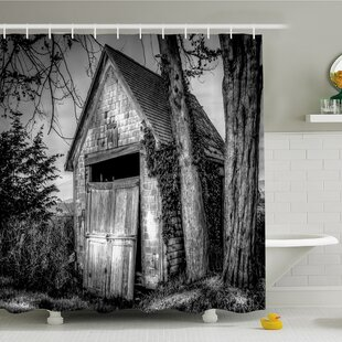 Inexpensive Rustic Home Old Ruined Stranded Stone Barn Farmhouse Rural Countryside Shower Curtain Set ByAmbesonne