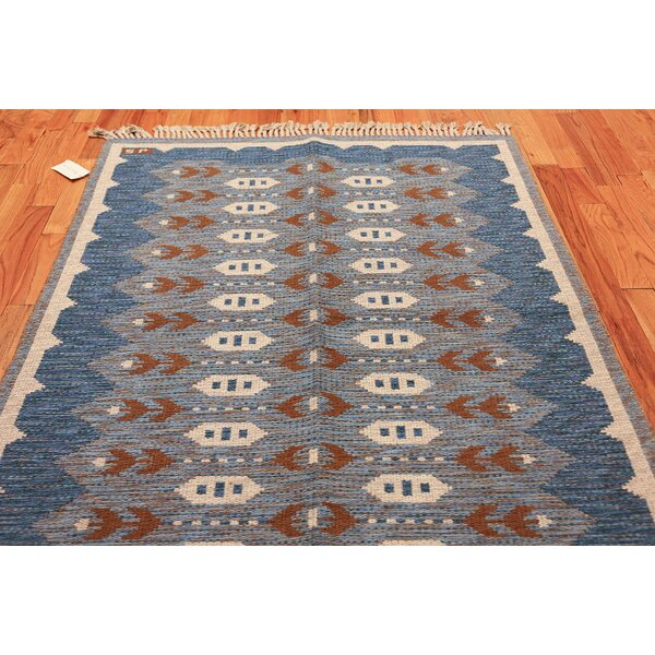 One-of-a-Kind Swedish Hand-Knotted 1950s Swedish Gray 4'8 x 6'3 Wool Area Rug