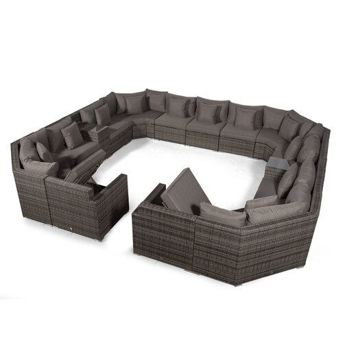 Villasenor Grey Rattan 13 Seat Sofa With 2 X Rectangle Ice B