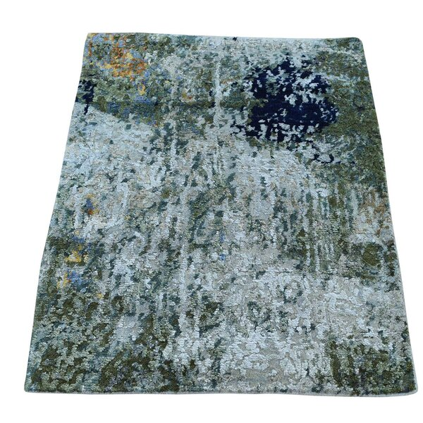 One-of-a-Kind Hi and Lo Abstract Hand-Knotted Gray Area Rug by Williston Forge