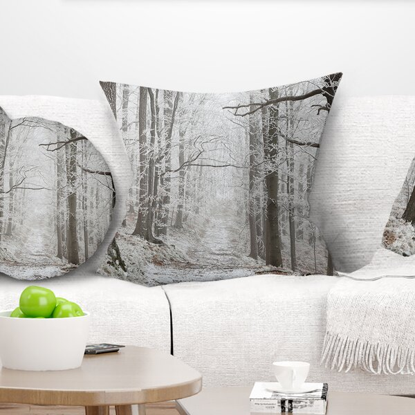 Forest Trail on Winter Morning Pillow by East Urban Home