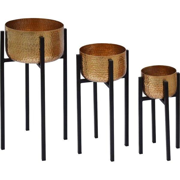 Genthner 3-Piece Hammered Iron Urn Planter Set by Bloomsbury Market