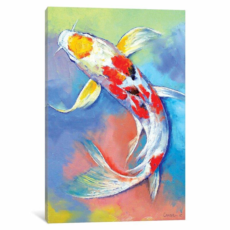 east urban home butterfly koi fish painting print on canvas wayfair