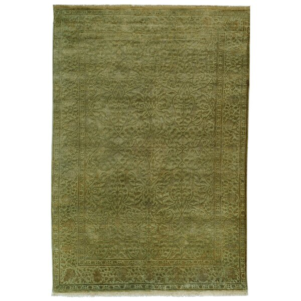 Hebert Hand-Knotted Light Green Area Rug by Bungalow Rose