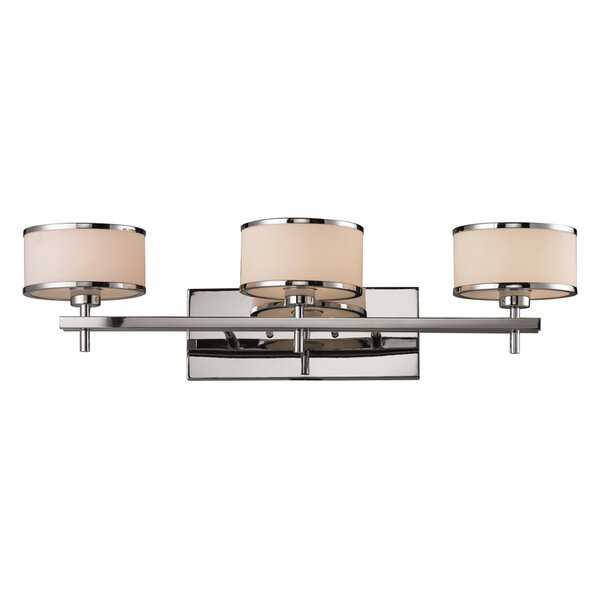 Brigman 3-Light Bathbar with White Blown Glass Shade, Polished Chrome Finish by Wrought Studio