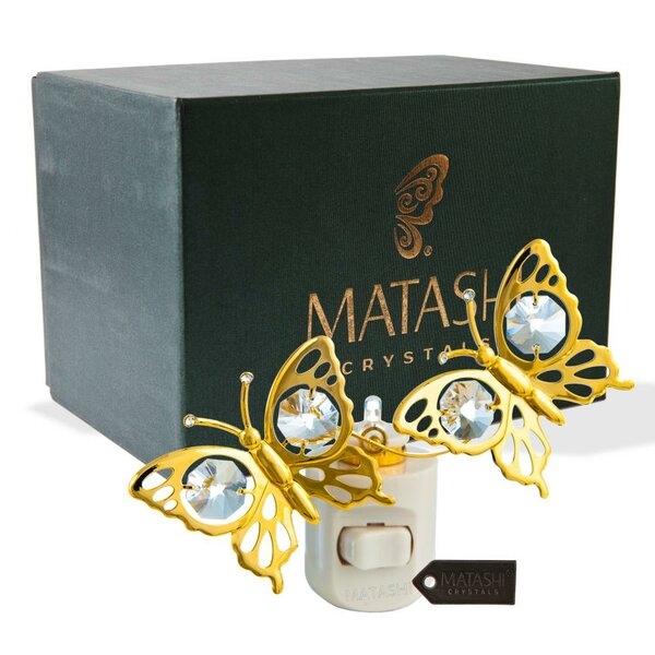 24K Gold Plated Crystal Studded Double Butterfly Multi-Colored Night Light by Matashi Crystal