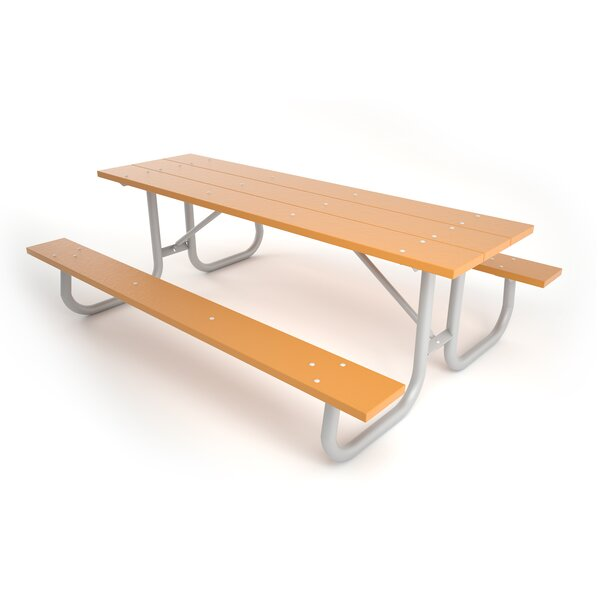 Galvanized Frame Plastic/Resin Picnic Table By Frog Furnishings