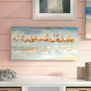 'Flamingo Reflections' Print on Wrapped Canvas by Beachcrest Home