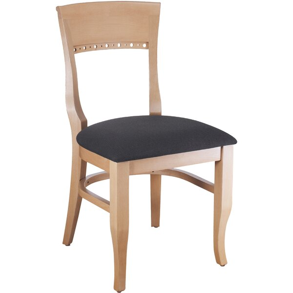 Tymon Genuine Leather Upholstered Dining Chair in Black Chenille (Set of 2) by Darby Home Co