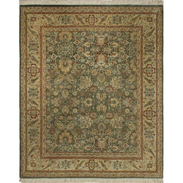 One-of-a-Kind Mickey Hand Knotted Rectangle Wool Green/Beige Area Rug by Isabelline