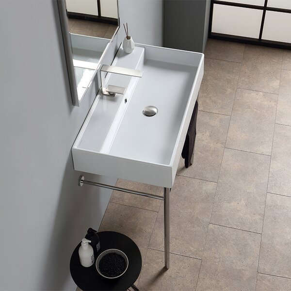 Teorema Ceramic 32 Console Bathroom Sink with Overflow by Scarabeo by Nameeks