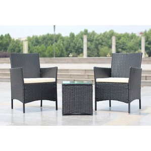 Walker Handmade 3 Piece Compact Outdoor/Indoor Garden Patio Furniture Set  Black PE Rattan Part 85