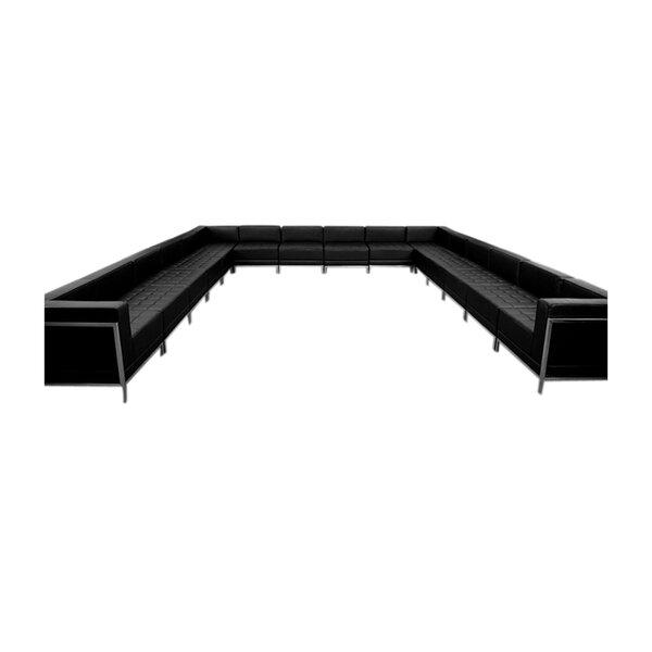 Peyton Leather Modular Sectional by Orren Ellis