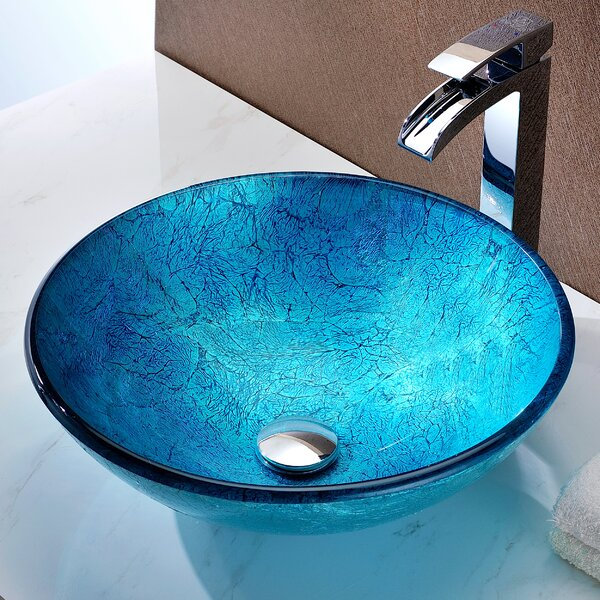 Accent Glass Circular Vessel Bathroom Sink by ANZZI