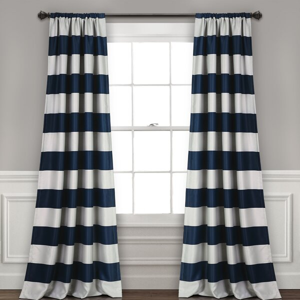 Jaqueline Striped Room Darkening Rod Pocket Curtain Panels (Set of 2) by Birch Lane Kids™