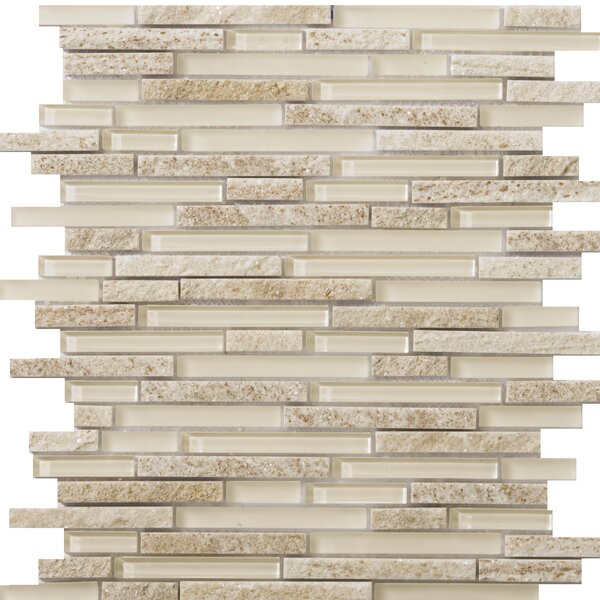 Lucente 12 x 13 Glass Stone Blend Linear Mosaic Tile in Servolo by Emser Tile