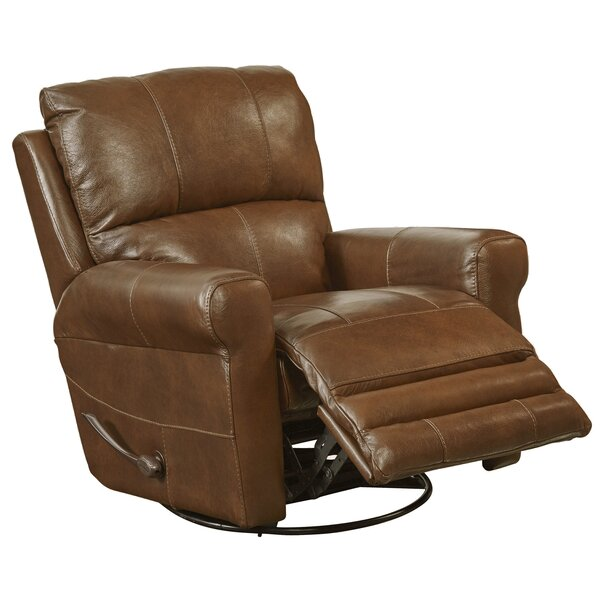 Hoffner Leather Manual Glider Swivel Recliner by Catnapper