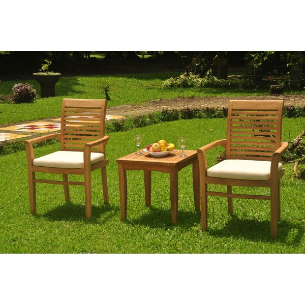 Amarion 3 Piece Teak Bistro Set by Rosecliff Heights