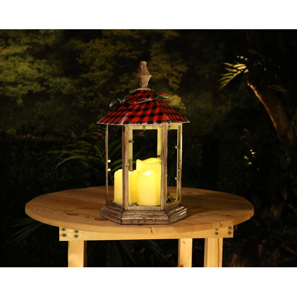 Christmas Garden Metal, Glass, and Plastic Lantern by Millwood Pines