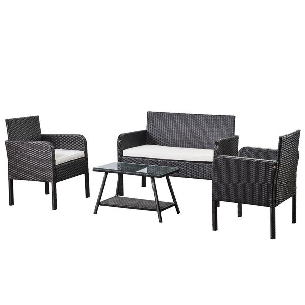 Edythe 4 Piece Rattan Sofa Seating Group with Cushions by Ebern Designs