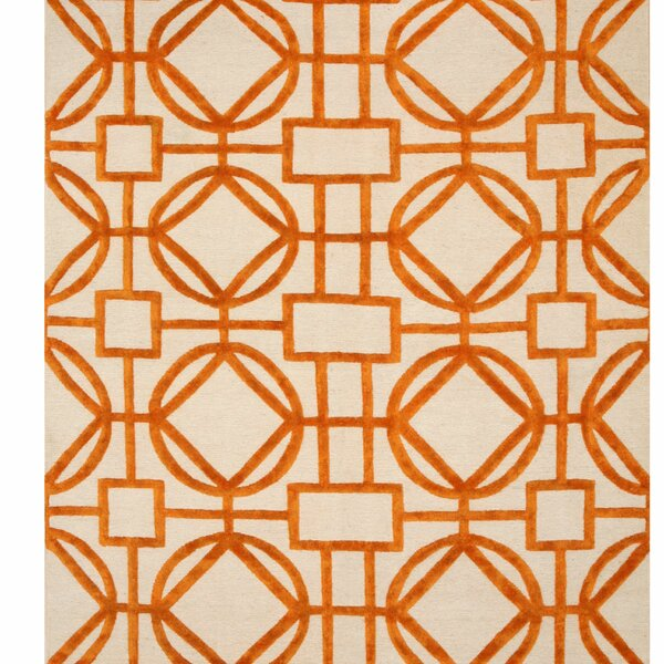 Northwood Links Hand-Knotted Ivory/Orange Area Rug by Red Barrel Studio