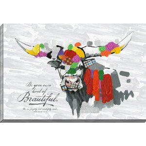 Color Splash 'Wow Cow Be Your Own Kind' Painting Print on Wrapped Canvas by Carpentree