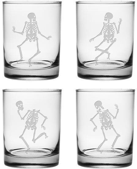 Dance of the Dead Rocks Glass (Set of 4) by Susquehanna Glass